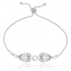 Bratara Argint 925, Bratara SWAROVSKI Crystals Glamour Crystal Clear + CADOU Laveta profesionala pentru curatat bijuteriile din argint