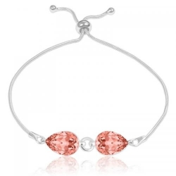 Bratara Argint 925, Bratara SWAROVSKI Crystals Glamour Rose Peach + CADOU Laveta profesionala pentru curatat bijuteriile din argint