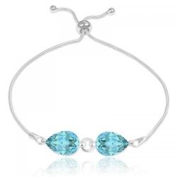 Bratara Argint 925, Bratara SWAROVSKI Crystals Glamour Turquoise + CADOU Laveta profesionala pentru curatat bijuteriile din argint