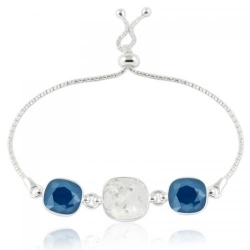 Bratara Argint 925, Bratara SWAROVSKI Crystals Triple Brilliant Crystal-Royal Blue + CADOU Laveta profesionala pentru curatat bijuteriile din argint + Cutie Cadou