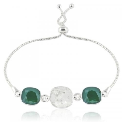 Bratara Argint 925, Bratara SWAROVSKI Crystals Triple Brilliant Crystal-Royal Green + CADOU Laveta profesionala pentru curatat bijuteriile din argint + Cutie Cadou