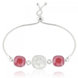 Bratara Argint 925, Bratara SWAROVSKI Crystals Triple Brilliant Crystal-Royal Red + CADOU Laveta profesionala pentru curatat bijuteriile din argint + Cutie Cadou