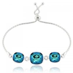 Bratara Argint 925, Bratara SWAROVSKI Crystals Triple Brilliant Electric Blue + CADOU Laveta profesionala pentru curatat bijuteriile din argint + Cutie Cadou