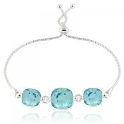 Bratara Argint 925, Bratara SWAROVSKI Crystals Triple Brilliant Light Turquoise + CADOU Laveta profesionala pentru curatat bijuteriile din argint + Cutie Cadou