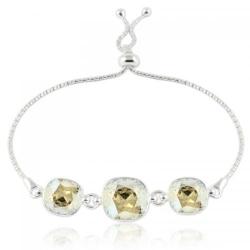 Bratara Argint 925, Bratara SWAROVSKI Crystals Triple Brilliant Moonlight + CADOU Laveta profesionala pentru curatat bijuteriile din argint + Cutie Cadou