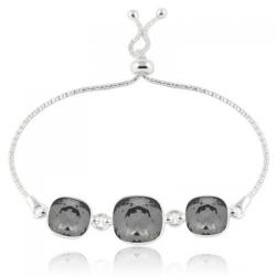 Bratara Argint 925, Bratara SWAROVSKI Crystals Triple Brilliant Night + CADOU Laveta profesionala pentru curatat bijuteriile din argint + Cutie Cadou