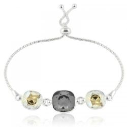 Bratara Argint 925, Bratara SWAROVSKI Crystals Triple Brilliant Night Moonlight + CADOU Laveta profesionala pentru curatat bijuteriile din argint + Cutie Cadou