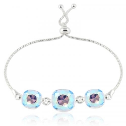 Bratara Argint 925, Bratara SWAROVSKI Crystals Triple Brilliant Sapphire Shimmer + CADOU Laveta profesionala pentru curatat bijuteriile din argint + Cutie Cadou