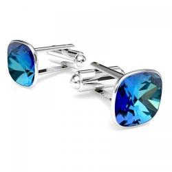 Butoni Argint 925, Butoni SWAROVSKI Brilliant Electric Blue + CADOU Laveta profesionala pentru curatat bijuteriile din argint