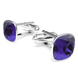 Butoni Argint 925, Butoni SWAROVSKI Brilliant Violet + CADOU Laveta profesionala pentru curatat bijuteriile din argint