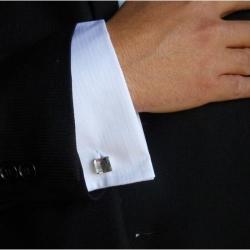 Butoni Argint 925, Butoni SWAROVSKI Crystal Clear + CADOU Laveta profesionala pentru curatat bijuterii din argint - Butoni Camasa Criando Bijoux -