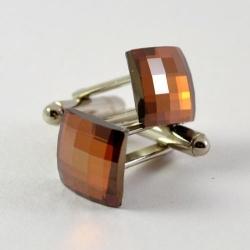 Butoni Argint 925, Butoni SWAROVSKI Crystal Copper + CADOU Laveta profesionala pentru curatat bijuterii din argint - Butoni Camasa Criando Bijoux -