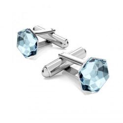 Butoni Argint 925, Butoni SWAROVSKI Hexagon Aquamarine 10mm + CADOU Laveta profesionala pentru curatat bijuterii din argint