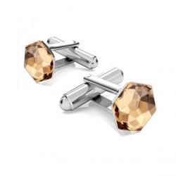 Butoni Argint 925, Butoni SWAROVSKI Hexagon Colorado Topaz 10mm + CADOU Laveta profesionala pentru curatat bijuterii din argint
