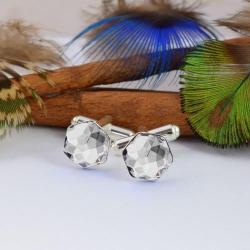 Butoni Argint 925, Butoni SWAROVSKI Hexagon Crystal Clear 10mm + CADOU Laveta profesionala pentru curatat bijuterii din argint