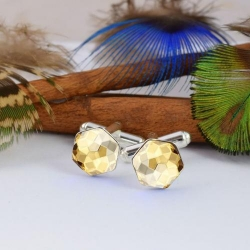 Butoni Argint 925, Butoni SWAROVSKI Hexagon Gold 10mm + CADOU Laveta profesionala pentru curatat bijuterii din argint