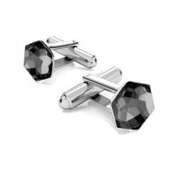 Butoni Argint 925, Butoni SWAROVSKI Hexagon Night 10mm + CADOU Laveta profesionala pentru curatat bijuterii din argint