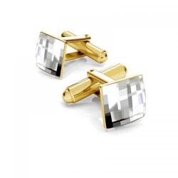 Butoni Argint 925 placat cu Aur 24k, Butoni SWAROVSKI Crystal Clear + CADOU Laveta profesionala pentru curatat bijuterii din argint
