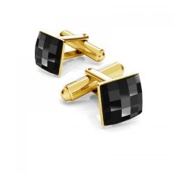 Butoni Argint 925 placat cu Aur 24k, Butoni SWAROVSKI Crystals Black Tie + CADOU Laveta profesionala pentru curatat bijuterii din argint