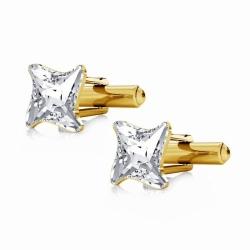 Butoni Argint 925 placat cu Aur 24k, Butoni SWAROVSKI Twister Crystal Clear + CADOU Laveta profesionala pentru curatat bijuterii din argint