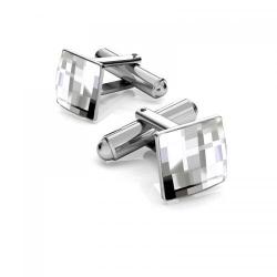 Butoni Argint 925 placat cu Rodiu Alb, Butoni SWAROVSKI Crystal Clear + CADOU Laveta profesionala pentru curatat bijuterii din argint
