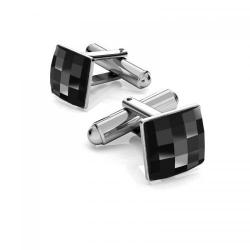 Butoni Argint 925 placat cu Rodiu Alb, Butoni SWAROVSKI Crystals Black Tie + CADOU Laveta profesionala pentru curatat bijuterii din argint