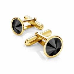 Butoni Argint 925 placati cu Aur 24k, Butoni SWAROVSKI Black Crystals 12mm + CADOU Laveta profesionala pentru curatat bijuteriile din argint - Butoni Camasa Criando Bijoux -