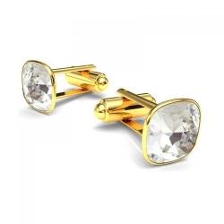 Butoni Argint 925 placati cu Aur 24k, Butoni SWAROVSKI Brilliant Crystal Clear + CADOU Laveta profesionala pentru curatat bijuteriile din argint
