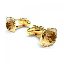 Butoni Argint 925 placati cu Aur 24k, Butoni SWAROVSKI Brilliant Gold + CADOU Laveta profesionala pentru curatat bijuteriile din argint