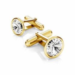 Butoni Argint 925 placati cu Aur 24k, Butoni SWAROVSKI Crystal Clear 12mm + CADOU Laveta profesionala pentru curatat bijuteriile din argint - Butoni Camasa Criando Bijoux -
