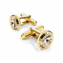 Butoni Argint 925 placati cu Aur 24k, Butoni SWAROVSKI Light Silk 12mm + CADOU Laveta profesionala pentru curatat bijuteriile din argint - Butoni Camasa Criando Bijoux -