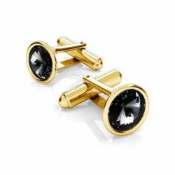 Butoni Argint 925 placati cu Aur 24k, Butoni SWAROVSKI Night 12mm + CADOU Laveta profesionala pentru curatat bijuteriile din argint - Butoni Camasa Criando Bijoux -