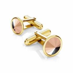 Butoni Argint 925 placati cu Aur 24k, Butoni SWAROVSKI Rose Gold 12mm + CADOU Laveta profesionala pentru curatat bijuteriile din argint - Butoni Camasa Criando Bijoux -