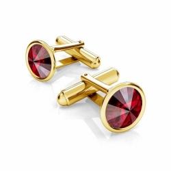 Butoni Argint 925 placati cu Aur 24k, Butoni SWAROVSKI Siam 12mm + CADOU Laveta profesionala pentru curatat bijuteriile din argint - Butoni Camasa Criando Bijoux -