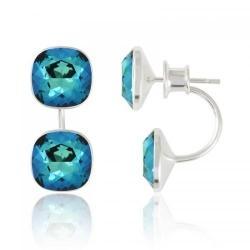 Cercei Argint 925, Cercei SWAROVSKI Crystals Brilliant (2) Electric Blue + CADOU Laveta profesionala pentru curatat bijuteriile din argint