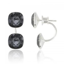 Cercei Argint 925, Cercei SWAROVSKI Crystals Brilliant (2) Night + CADOU Laveta profesionala pentru curatat bijuteriile din argint