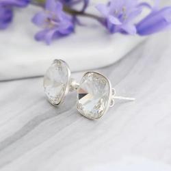 Cercei Argint 925, Cercei SWAROVSKI Crystals Brilliant Crystal Clear + CADOU Laveta profesionala pentru curatat bijuteriile din argint