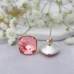 Cercei Argint 925, Cercei SWAROVSKI Crystals Brilliant Rose + CADOU Laveta profesionala pentru curatat bijuteriile din argint