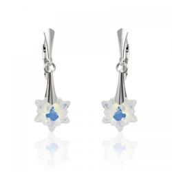 Cercei Argint 925, Cercei SWAROVSKI Crystals Edelweiss Aurora Boreala + CADOU Laveta profesionala pentru curatat bijuteriile din argint