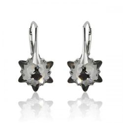 Cercei Argint 925, Cercei SWAROVSKI Crystals Edelweiss Night + CADOU Laveta profesionala pentru curatat bijuteriile din argint