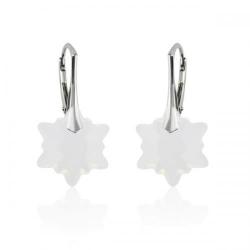 Cercei Argint 925, Cercei SWAROVSKI Crystals Edelweiss White Opal + CADOU Laveta profesionala pentru curatat bijuteriile din argint