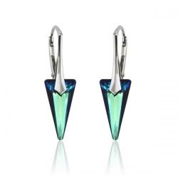 Cercei Argint 925, Cercei SWAROVSKI Crystals Fashion Electric Blue + CADOU Laveta profesionala pentru curatat bijuteriile din argint + Cutie Cadou