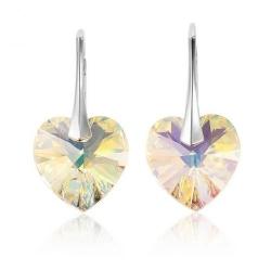 Cercei Argint 925, Cercei SWAROVSKI Aurore Boreale Heart Crystals + CADOU Laveta profesionala pentru curatat bijuteriile din argint