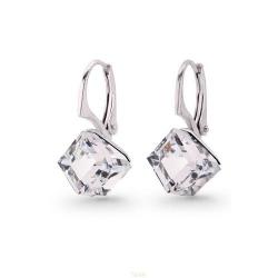 Cercei Argint 925, Cercei SWAROVSKI Cube Crystal CAL + CADOU Laveta profesionala pentru curatat bijuteriile din argint