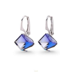 Cercei Argint 925, Cercei SWAROVSKI Cube Electric Blue + CADOU Laveta profesionala pentru curatat bijuteriile din argint