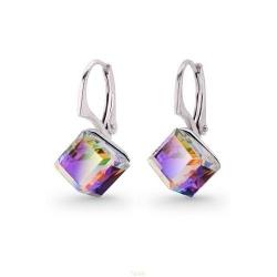 Cercei Argint 925, Cercei SWAROVSKI Cube Vitrail Medium + CADOU Laveta profesionala pentru curatat bijuteriile din argint