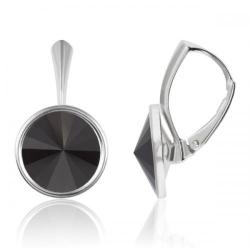 Cercei Argint 925, Cercei Swarovski Grace (cu bordura) Black + CADOU Laveta profesionala pentru curatat bijuteriile din argint + Cutie Cadou