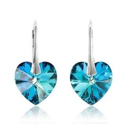 Cercei Argint 925, Cercei SWAROVSKI Electric Blue Heart Crystals + CADOU Laveta profesionala pentru curatat bijuteriile din argint