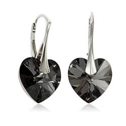Cercei Argint 925, Cercei SWAROVSKI Night Heart Crystals + CADOU Laveta profesionala pentru curatat bijuteriile din argint