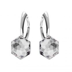 Cercei Argint 925, Cercei SWAROVSKI Hexagon Crystal Clear 10mm + CADOU Laveta profesionala pentru curatat bijuterii din argint